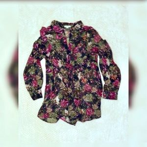 Tops - Sheer open neck floral blouse